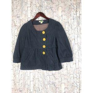 Anthropologie Ett Twa Navy Dotted Twill Jacket